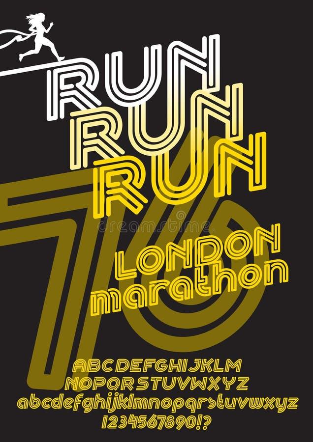 Londyński maratonu bieg plakat royalty ilustracja