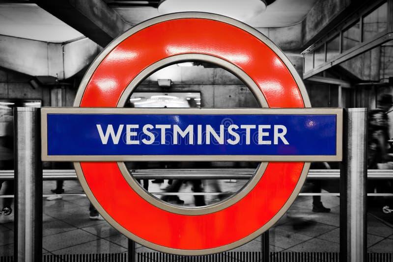 Londyński metro znak Westminister stacja zdjęcie royalty free