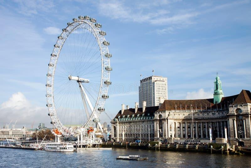 Londyński oka Ferris koło, Londyn, UK zdjęcie royalty free