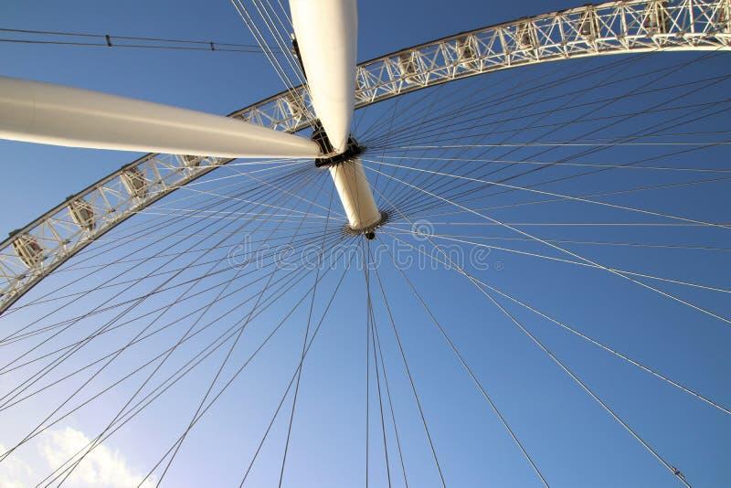 Londyński oko, południe Deponuje pieniądze, znowu niebieskie niebo, widok spod spodu zdjęcia royalty free