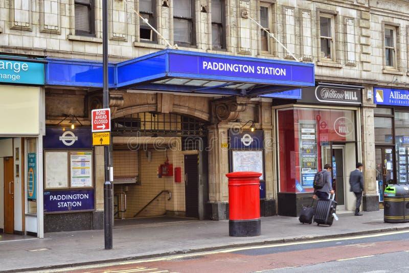 Londyński Paddington staci metru wejście zdjęcia royalty free