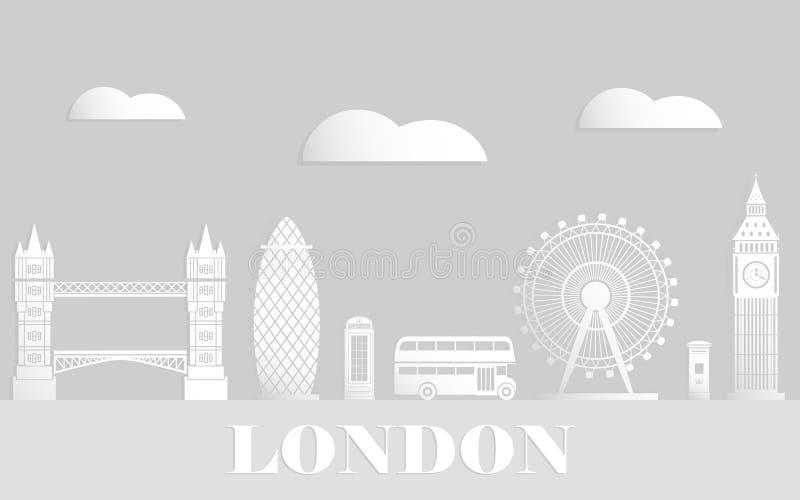 Londyński podróż wektoru mieszkanie Białego papieru sztuki styl ilustracja wektor