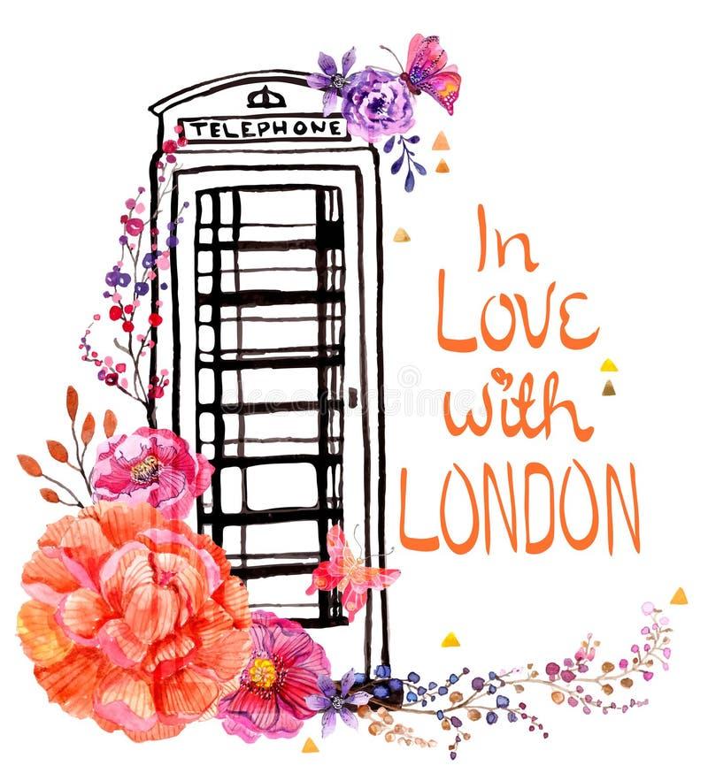 Londyński telefonu budka z akwarela kwiatami royalty ilustracja
