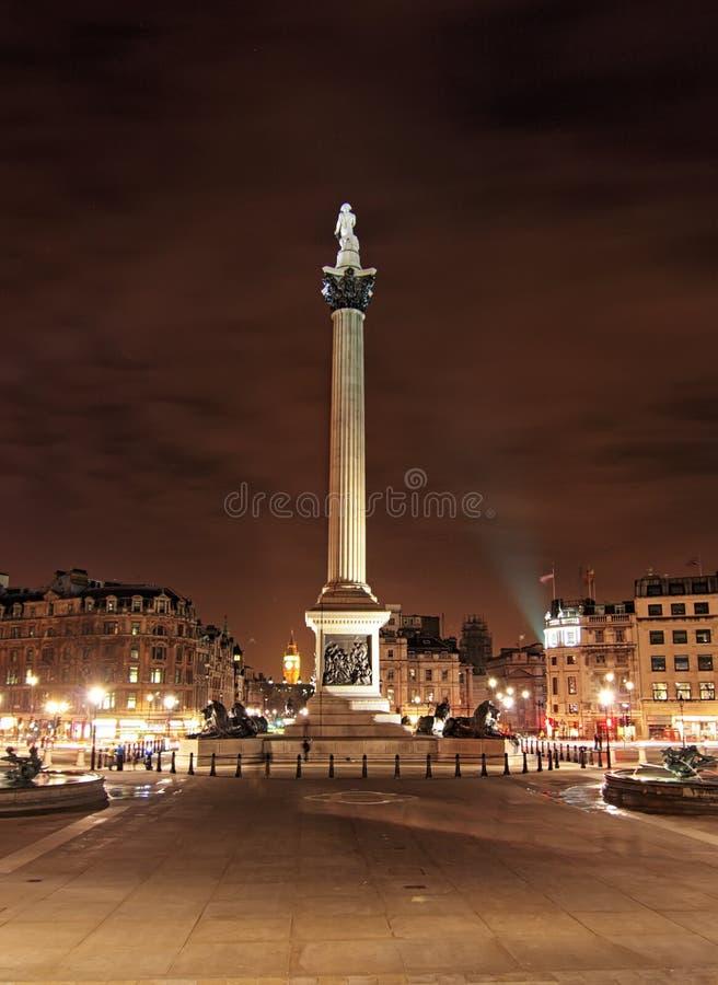 Londyński Trafalgar kwadrat z nelsonami szpaltowymi fotografia royalty free