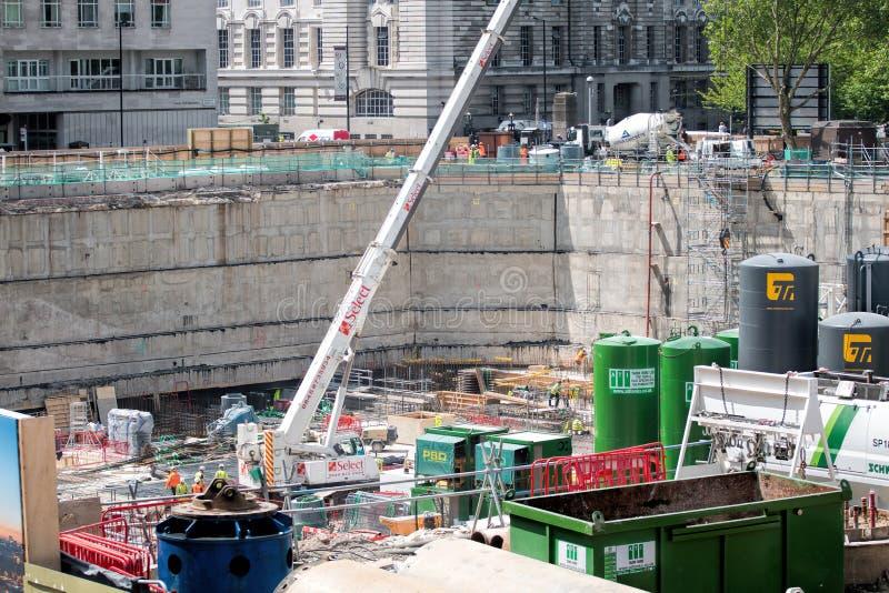Londyński Waterloo, Shell centrum przebudowy budowa zdjęcia stock