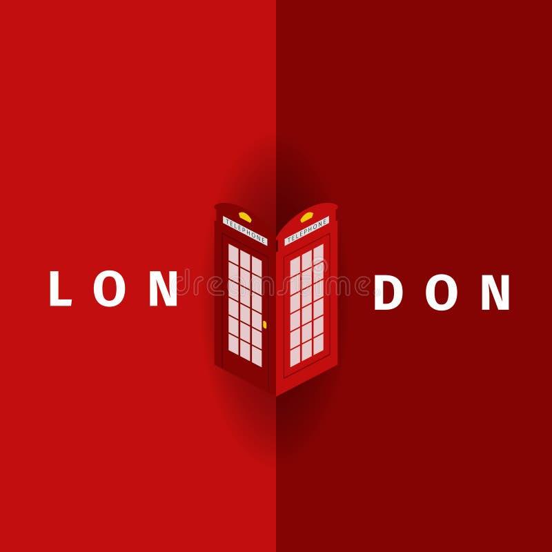 Londyński Wektorowy plakat z tradycyjny telefoniczny budka ilustracja wektor