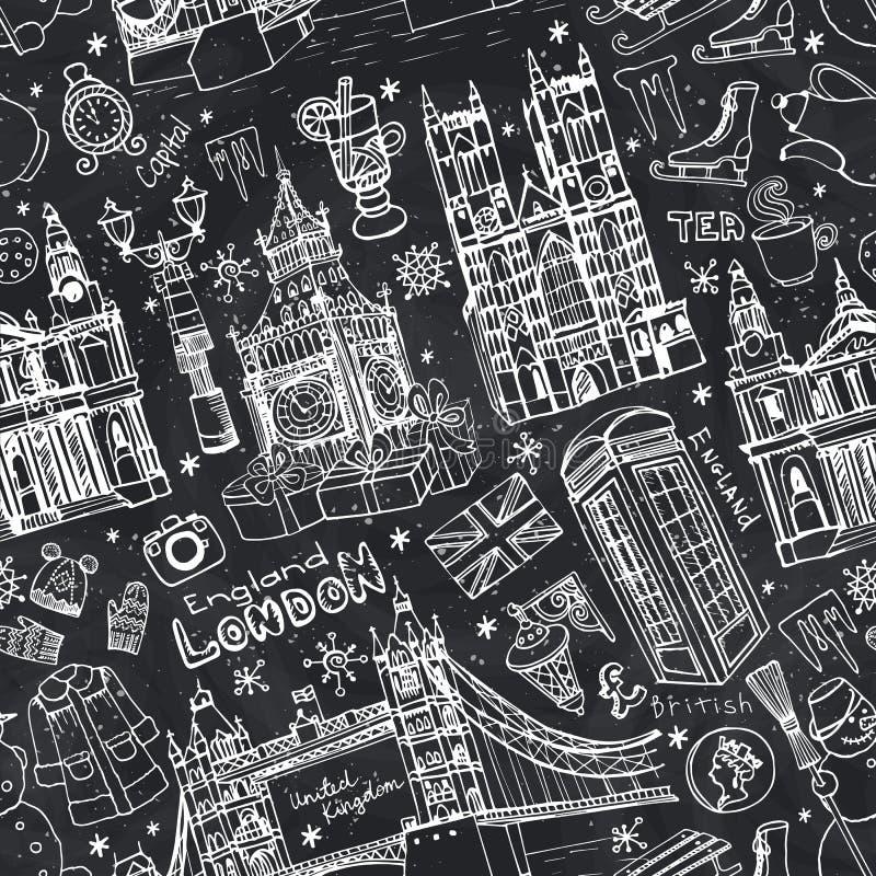 Londyńskich zima punktów zwrotnych bezszwowy wzór Kred doodles royalty ilustracja