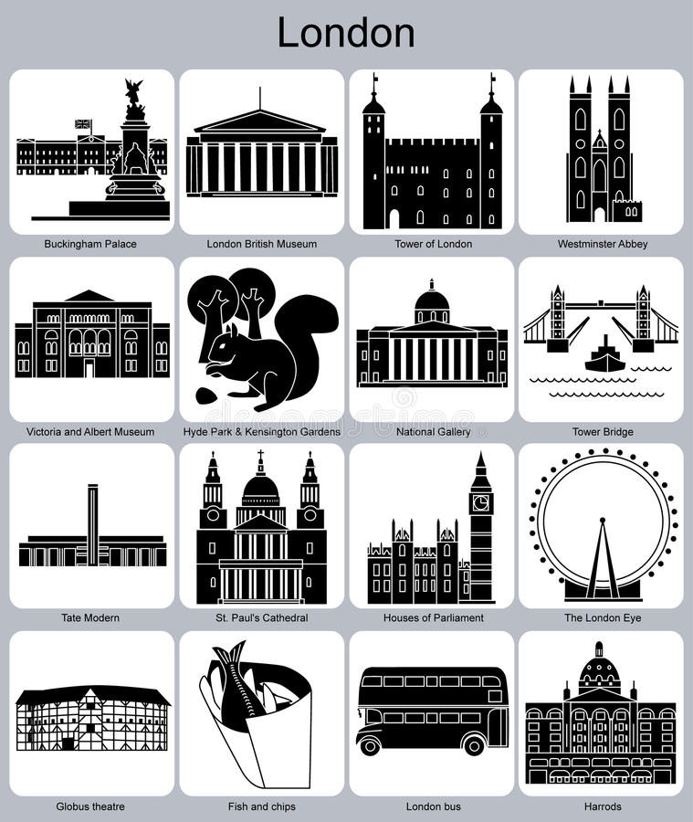 Londyńskie ikony royalty ilustracja
