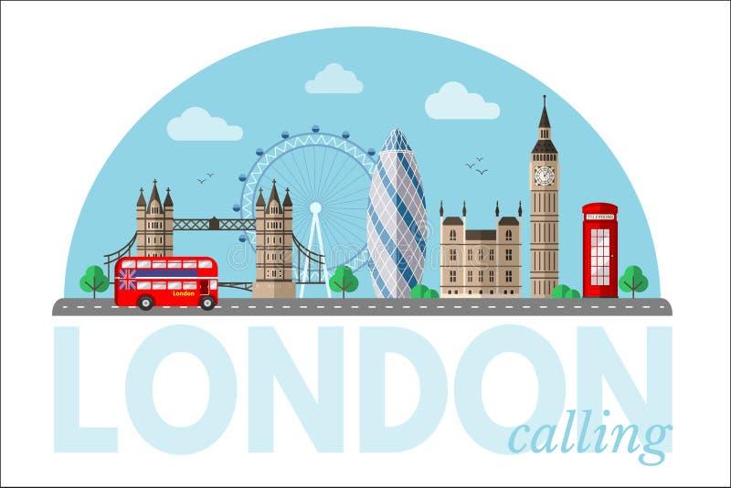 Londyńskiego pejzażu miejskiego wektorowy clipart z literowaniem royalty ilustracja