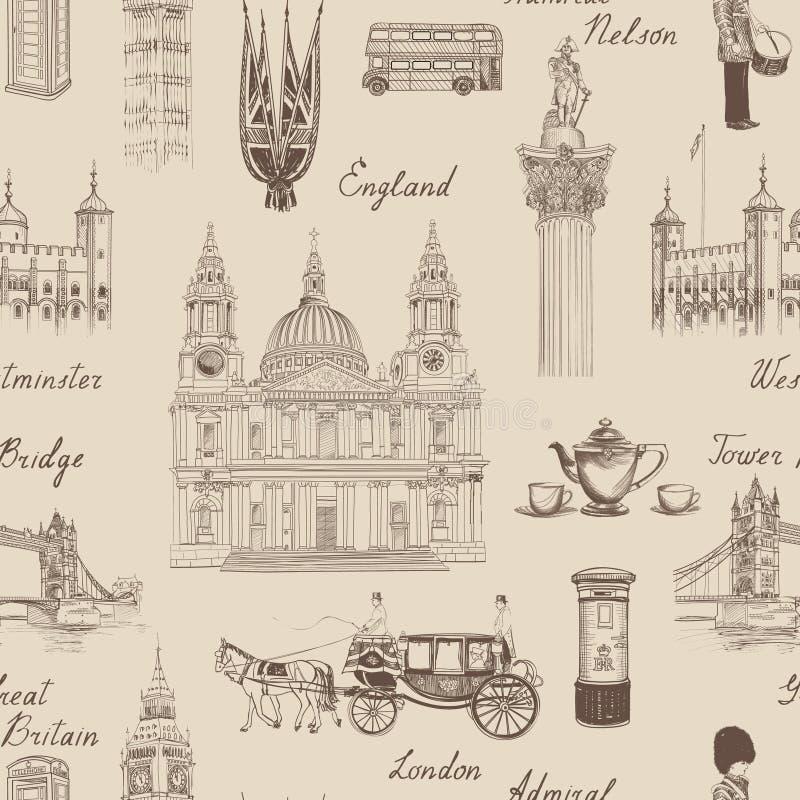 Londyńskiego punktu zwrotnego bezszwowy wzór Doodle podróż Europa szkicowy l ilustracji