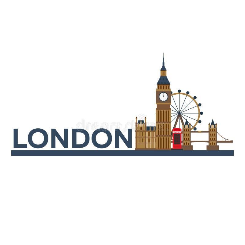 Londyn Angielska architektura Turystyka Podróżny ilustracyjny Londyński miasto Nowożytny płaski projekt zakaz duży england projek royalty ilustracja