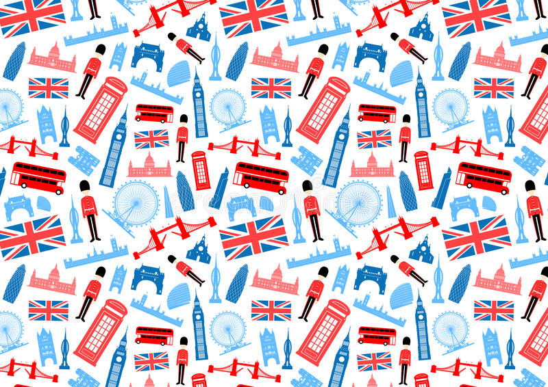 Londyn, Anglia Bezszwowy wzór ilustracji