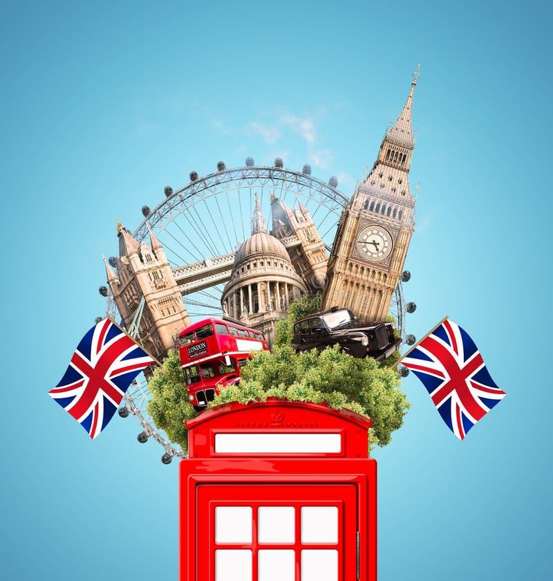 Londyn, Brytania, turystyczny kolaż zdjęcia royalty free