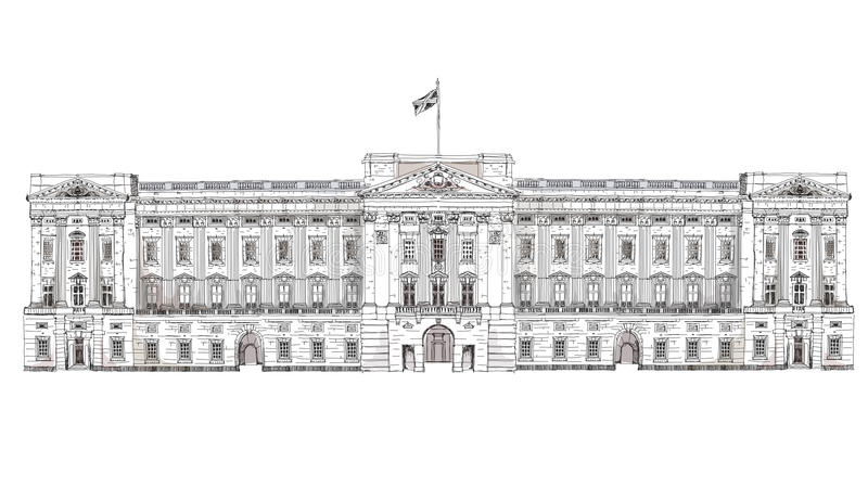 Londyn Buckingham Palace Sławni budynki Londyn, podróży i biznesu tło, ilustracji
