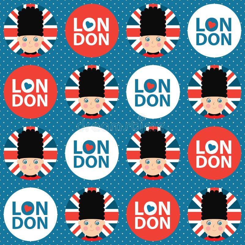 Londyn deseniowy bezszwowy royalty ilustracja
