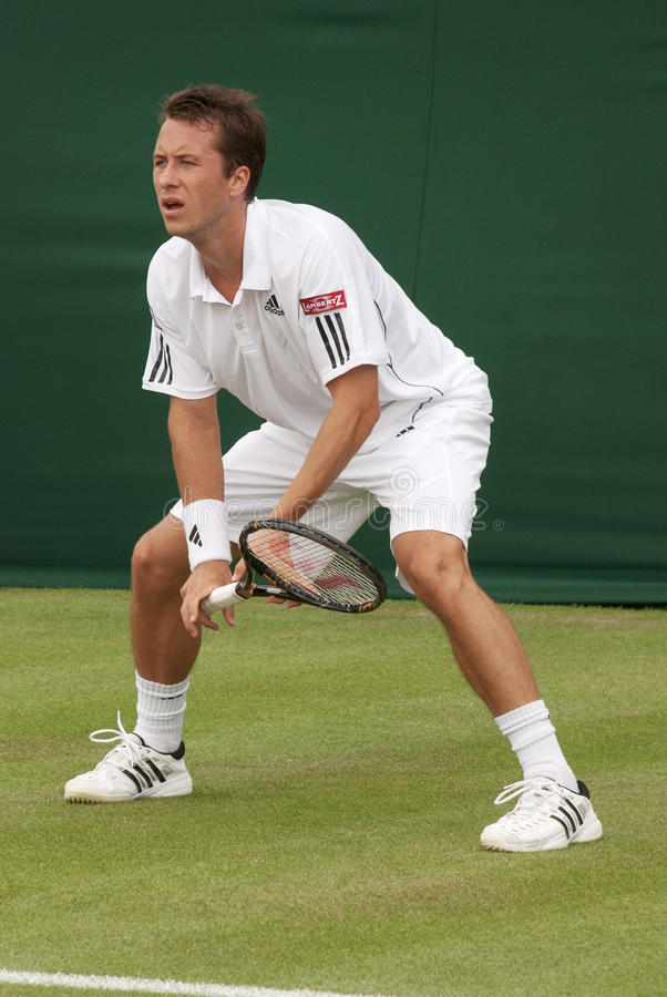 LONDYN, ENGLAND-JUNE 22, 2009: Gracz w tenisa Philipp Kohlschreib obraz stock