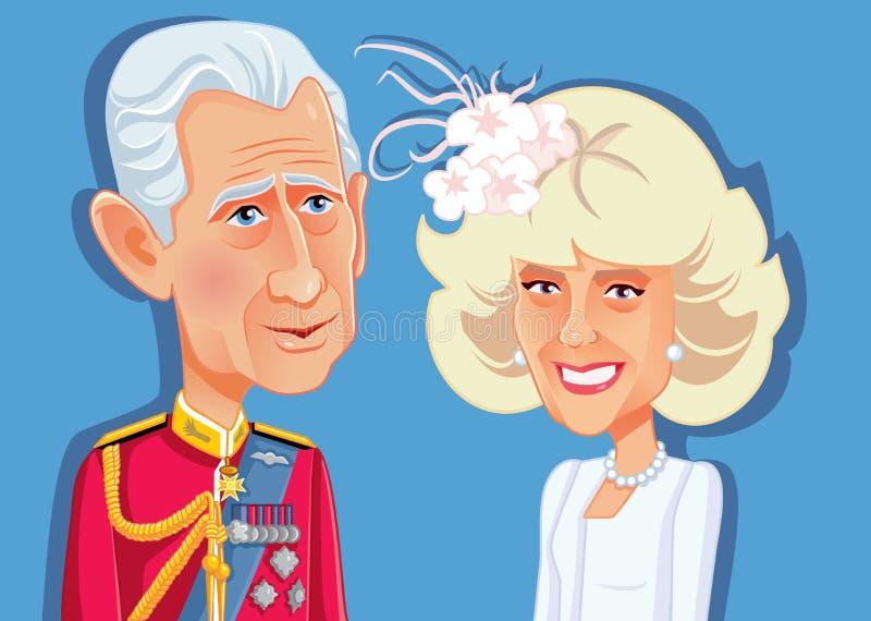 Londyn, 9 2018 Grudzień, książe Charles i Camilla Parker Bowles Wektorowa karykatura, UK, royalty ilustracja