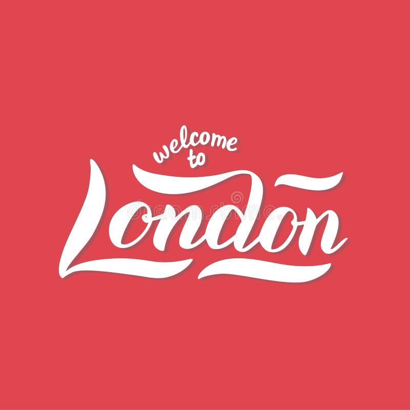 Londyn powitania powitania sztandar Modny literowanie tekst na czerwonym tle Drukuje projekt dla pocztówki, koszula, filiżanka, t ilustracji