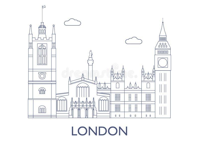 Londyn sławni budynki miasto ilustracji