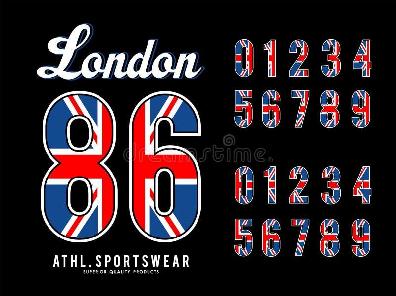 Londyn setu liczby flaga UK ilustracji