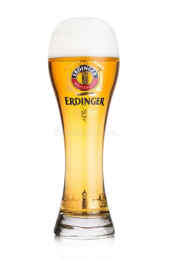 LONDYN, UK - LIPIEC 28, 2018: Oryginalny szkło Erdinger piwo na bielu Erdinger jest produktem światowy ` s wielki pszeniczny piwn zdjęcie royalty free