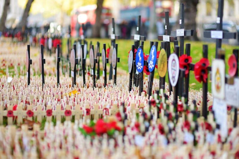 LONDYN, UK - LISTOPAD 19, 2017: Maczek krzyżuje przy opactwo abbey polem wspominanie pamiętać wojskowego i cywilów wh, zdjęcie stock