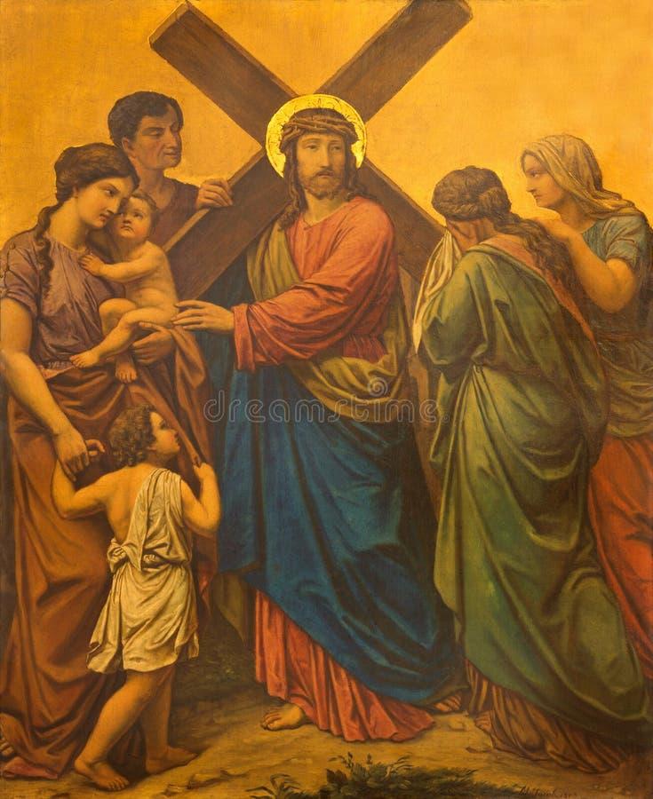 LONDYN WIELKI BRYTANIA, WRZESIEŃ, - 17, 2017: Maluje Jezus spotyka kobiety Jerozolima jako stacja krzyż w kościół zdjęcie royalty free