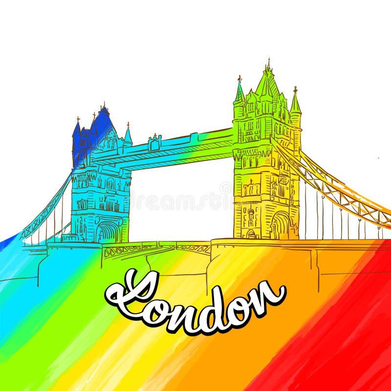 Londyn wierza mosta pokrywy sztuka royalty ilustracja