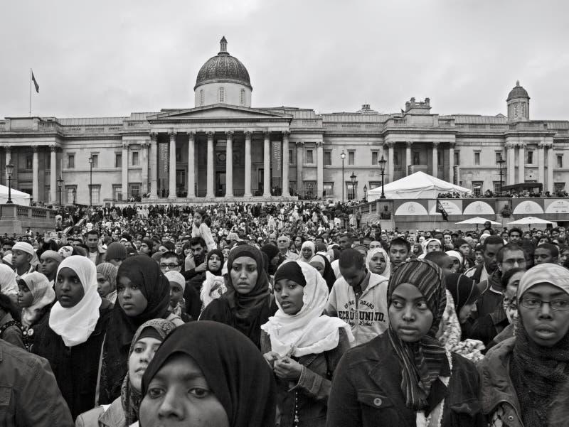 Londyn Zjednoczone Królestwo, Październik, - 28, 2006: Tysiące ludzi od wszystkie kultur łączyli wpólnie dla rocznego Eid festiwa fotografia royalty free