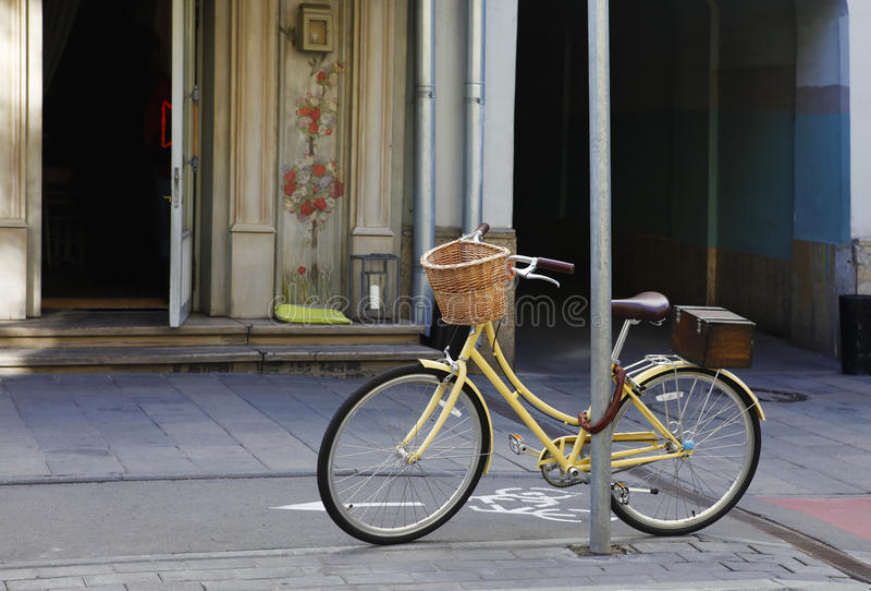 Lone bike on the street royalty free stock photo