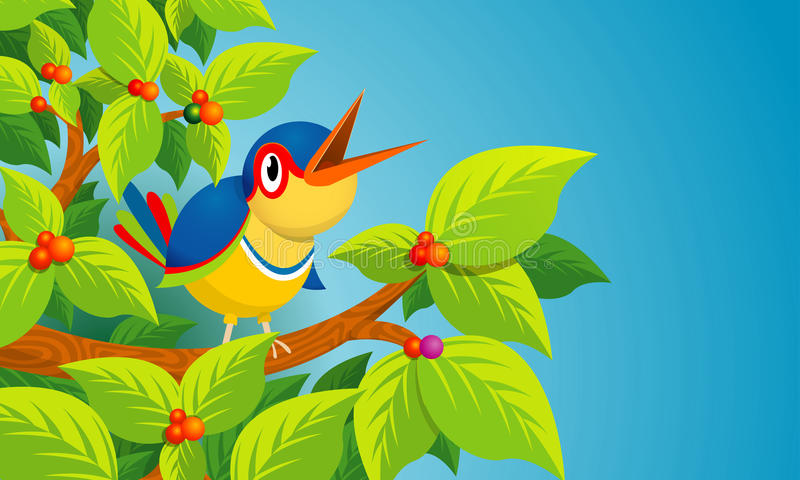 Lone bird singing on the branch of a tree on blue background stock illustration