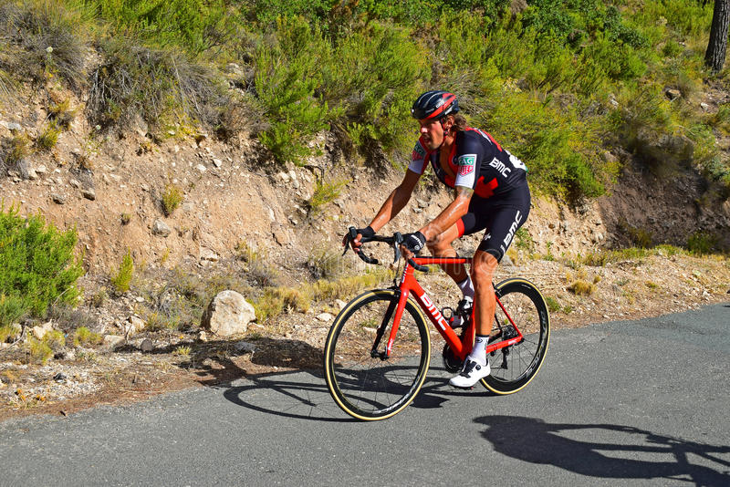 Cycle racing La Vuelta España. A lone BMC on a steep incline on stage eight Xorret De Cati in the 2017 La Vuelta España bike tour stock photo
