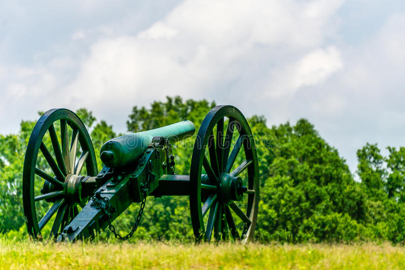 A Lone Cannons on a Battlefield. One Cannons on a Battlefield stock photography