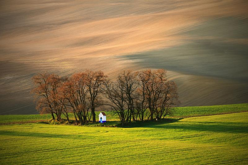 Lone chapel in the fields - autumn in green and brown colors. Brown and green fields stock images