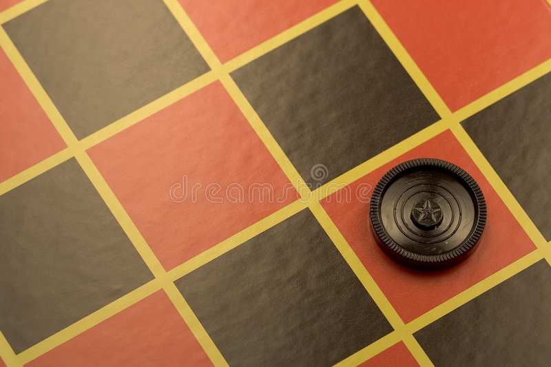 Lone checker. Who won the game with a final dazzling move stock images