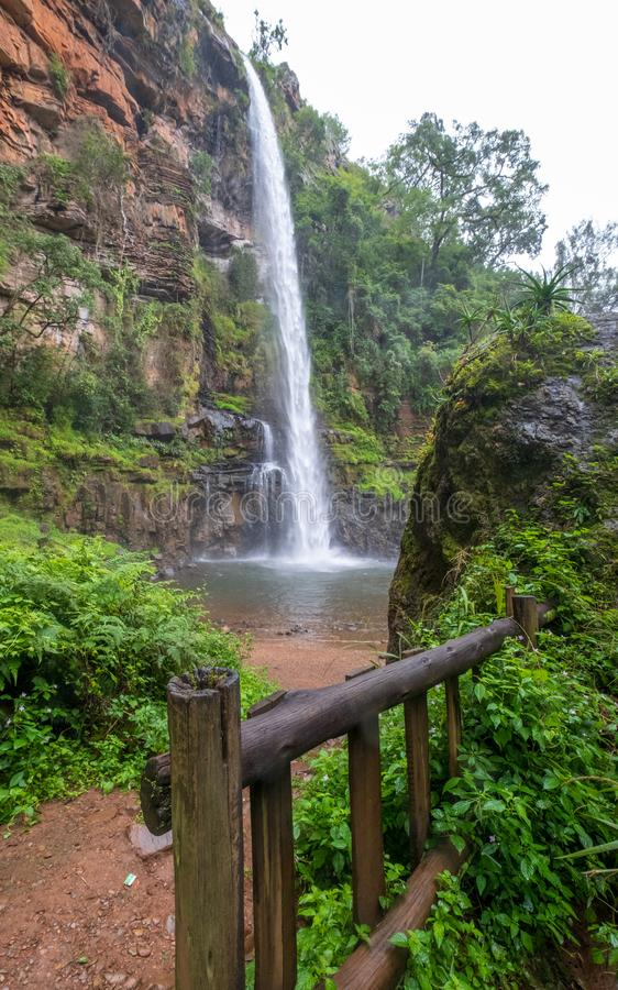 The Lone Creek Falls: walkway leading to the dramatic waterfalls in the Blyde River Canyon, Panorama Route, South Africa royalty free stock image