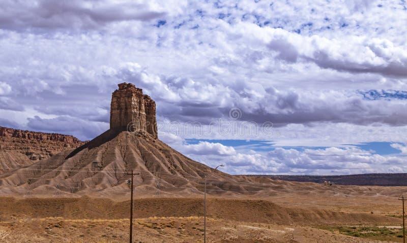 Lone Desert Butte In The  Southwest USA. Desert Butte In The  Southwest USA  near the four corners area of AZ, CO, UT, & NM stock photography