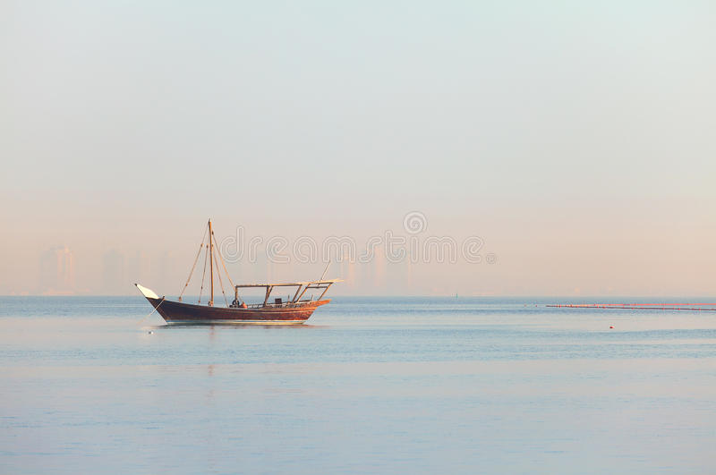 Lone Dhow In Qatar Royalty Free Stock Images