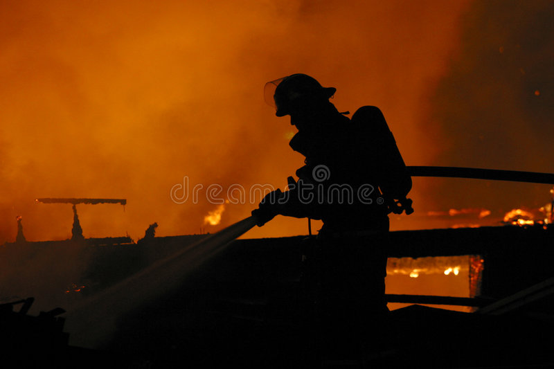 Lone firefighter royalty free stock image