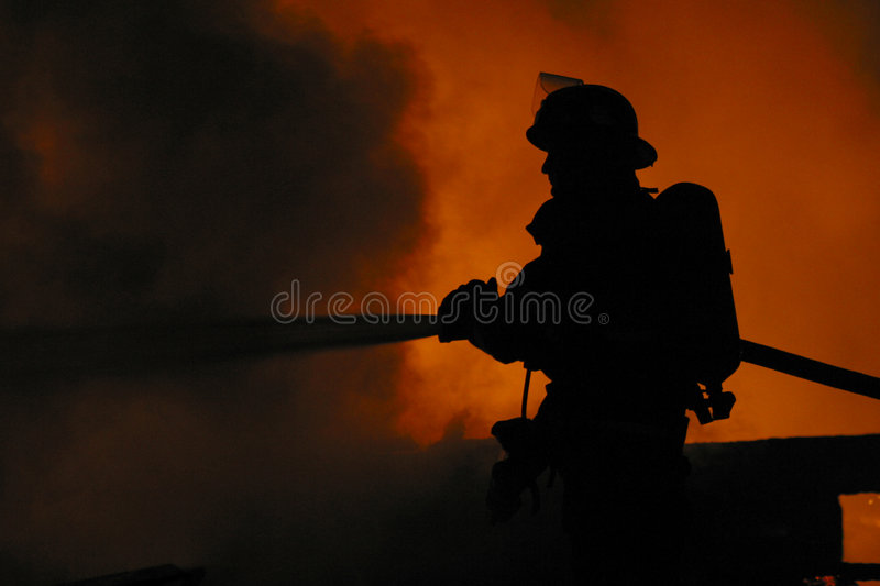 Lone firefighter royalty free stock photography