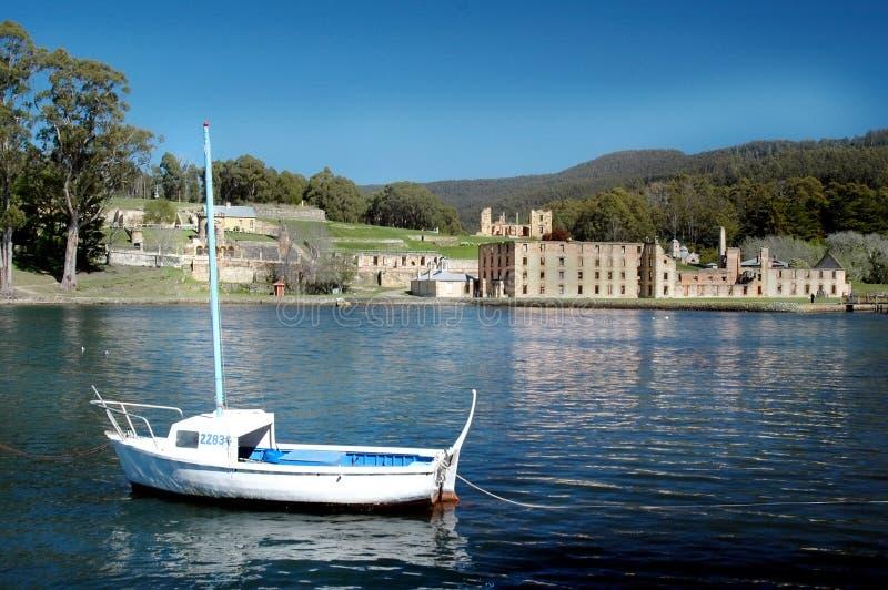 Lone fishing boat royalty free stock image