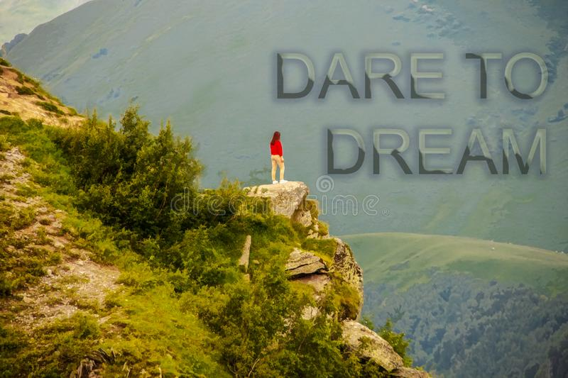 Lone girl standing on outcrop  looking over a deep valley in the mountains with motivational message Dare to Dream vector illustration