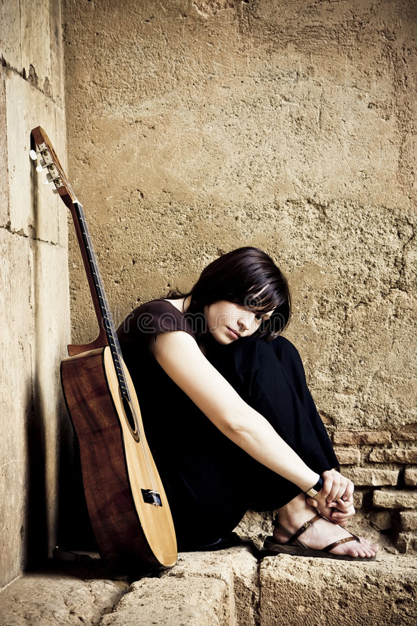 lone gitarrist royaltyfria foton