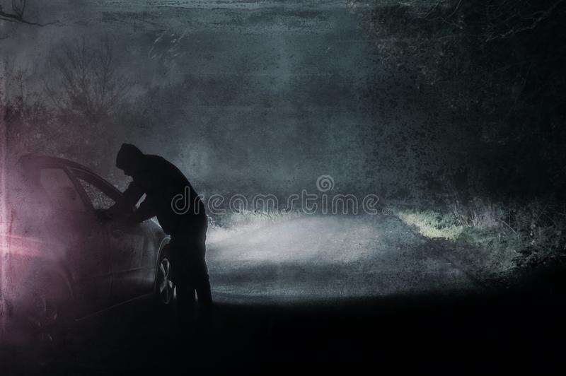 A lone hooded figure looking into a car. Silhouetted on a spooky, country foggy winters road at night vector illustration