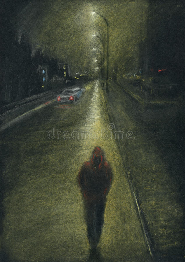 Lone man on the night city road. Night city, lone man on the road, back light effect. Pastel chalks on black paper stock photo