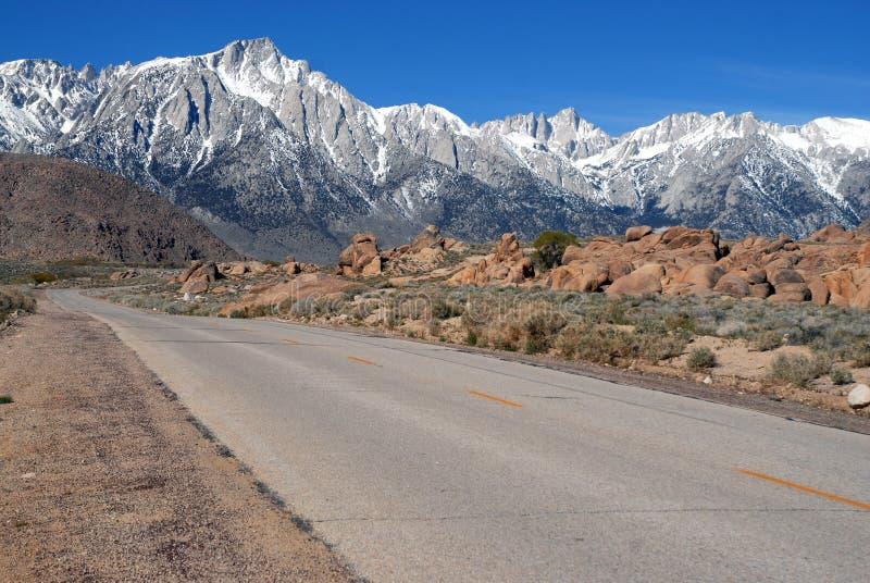 Lone Pine California and the Eastern Sierra. Sierra Nevada Range on Whitney Portal Road stock images