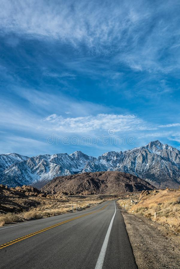 Lone Pine, California morning view of Mount Whitney from Whitney Portal road in Lone pine. USA royalty free stock photos