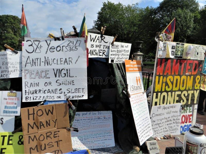 Protester in tent outside White House, Washington DC stock photos