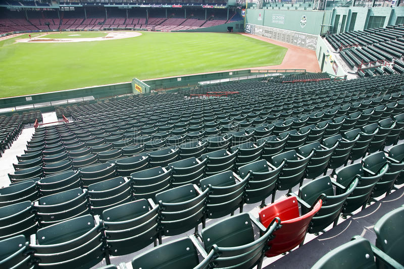 Lone Red Seat at Fenway Park in Boston, MA royalty free stock image