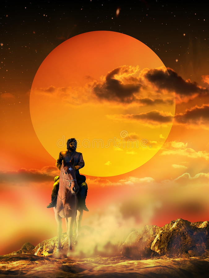 Lone rider. Man riding lonely under the sunset, on an arid land stock illustration